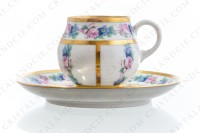 Set of six Art Deco coffee cups in china of Limoges by Legrand decorated with polychromes flowers photo-4