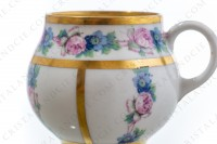 Set of six Art Deco coffee cups in china of Limoges by Legrand decorated with polychromes flowers photo-6