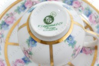 Set of six Art Deco coffee cups in china of Limoges by Legrand decorated with polychromes flowers photo-11
