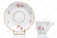 Set of six coffee cups in china of Limoges by Bernardaud decorated with polychromes flowers and gold borders photo-2