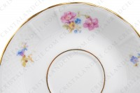 Set of six coffee cups in china of Limoges by Bernardaud decorated with polychromes flowers and gold borders photo-7