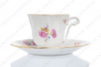 Set of six coffee cups in china of Limoges by Bernardaud decorated with polychromes flowers and gold borders photo-3