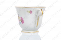 Set of six coffee cups in china of Limoges by Bernardaud decorated with polychromes flowers and gold borders photo-5