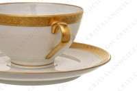 Set of six coffee cups in china of Limoges by Chastanier decorated with a frieze of laurels in gold inlays photo-5