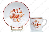 Set of six coffee cups in Limoges china by Bernardaud pattern Mandalay decorated with bouquets of flowers in shades of red photo-2