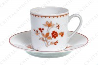 Set of six coffee cups in Limoges china by Bernardaud pattern Mandalay decorated with bouquets of flowers in shades of red photo-3