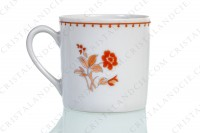 Set of six coffee cups in Limoges china by Bernardaud pattern Mandalay decorated with bouquets of flowers in shades of red photo-5