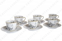 Set of six coffee cups in Limoges china by Bernardaud for Christofle pattern Marie-Antoinette decorated with grey pastoral pictures according to a drawing of the French painter Paul Huet for the queen Marie-Antoinette photo-3