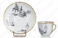 Set of six coffee cups in Limoges china by Bernardaud for Christofle pattern Marie-Antoinette decorated with grey pastoral pictures according to a drawing of the French painter Paul Huet for the queen Marie-Antoinette photo-4