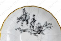 Set of six coffee cups in Limoges china by Bernardaud for Christofle pattern Marie-Antoinette decorated with grey pastoral pictures according to a drawing of the French painter Paul Huet for the queen Marie-Antoinette photo-6