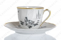 Set of six coffee cups in Limoges china by Bernardaud for Christofle pattern Marie-Antoinette decorated with grey pastoral pictures according to a drawing of the French painter Paul Huet for the queen Marie-Antoinette photo-7