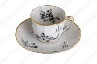 Set of six coffee cups in Limoges china by Bernardaud for Christofle pattern Marie-Antoinette decorated with grey pastoral pictures according to a drawing of the French painter Paul Huet for the queen Marie-Antoinette photo-8
