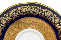 Set of six coffee cups in china of Limoges by Bernardaud pattern Monte Carlo cobalt blue richly decorated with flowered arabesques on a cobalt blue background and gold inlays photo-8