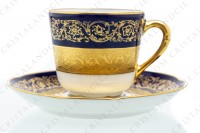 Set of six coffee cups in china of Limoges by Bernardaud pattern Monte Carlo cobalt blue richly decorated with flowered arabesques on a cobalt blue background and gold inlays photo-3