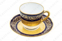 Set of six coffee cups in china of Limoges by Bernardaud pattern Monte Carlo cobalt blue richly decorated with flowered arabesques on a cobalt blue background and gold inlays photo-4