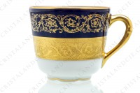 Set of six coffee cups in china of Limoges by Bernardaud pattern Monte Carlo cobalt blue richly decorated with flowered arabesques on a cobalt blue background and gold inlays photo-5