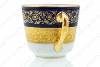 Set of six coffee cups in china of Limoges by Bernardaud pattern Monte Carlo cobalt blue richly decorated with flowered arabesques on a cobalt blue background and gold inlays photo-6