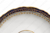 Set of six coffee cups in Limoges china by Theodore Haviland decorated with hand painted cobalt blue and gold photo-7