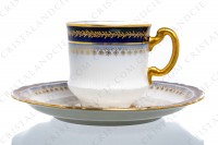 Set of six coffee cups in Limoges china by Theodore Haviland decorated with hand painted cobalt blue and gold photo-3