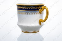 Set of six coffee cups in Limoges china by Theodore Haviland decorated with hand painted cobalt blue and gold photo-5