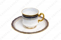 Set of six coffee cups in Limoges china by Theodore Haviland decorated with hand painted cobalt blue and gold photo-4