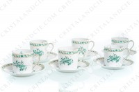 Set of six coffee cups in Limoges china by Bernardaud pattern Pekin decorated with green gold enhanced flowers photo-2