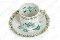 Set of six coffee cups in Limoges china by Bernardaud pattern Pekin decorated with green gold enhanced flowers photo-4