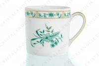 Set of six coffee cups in Limoges china by Bernardaud pattern Pekin decorated with green gold enhanced flowers photo-5