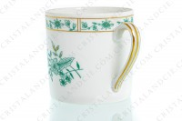 Set of six coffee cups in Limoges china by Bernardaud pattern Pekin decorated with green gold enhanced flowers photo-6