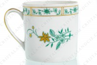 Set of six coffee cups in Limoges china by Bernardaud pattern Pekin decorated with green gold enhanced flowers photo-7