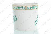Set of six coffee cups in Limoges china by Bernardaud pattern Pekin decorated with green gold enhanced flowers photo-9