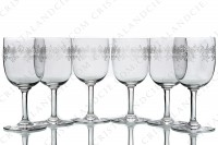 Set of six watergoblets n°2 in crystal by Baccarat pattern Sévigné with an engraved pattern of arabesques photo-2