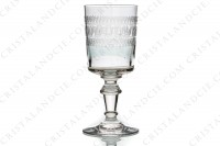 Set of six wine glasses n°4 in crystal by Baccarat cylindrical shape with a carved pattern photo-2