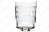 Set of six wine glasses n°4 in crystal by Baccarat cylindrical shape with a carved pattern photo-4