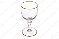 Set of six wine glasses n°3 in crystal by Baccarat pattern Mahora decorated with gold borders photo-3