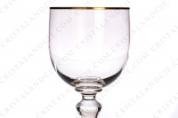 Set of six wine glasses n°3 in crystal by Baccarat pattern Mahora decorated with gold borders photo-4