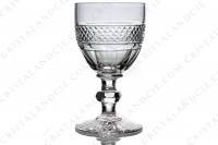 Six Wine glasses n°4 in crystal by Saint-Louis pattern Trianonwith the parison is decorated with a Diamond tips frieze, stem with a ring photo-2