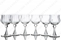 Set of six wine glasses n°3 in crystal by Daum pattern Verone with a parison decorated with venetians cuts, with a hollow foot photo-2