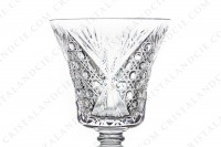 Set of six wine glasses n°3 in crystal by Saint-Louis pattern Vologne with an important cut pattern photo-5