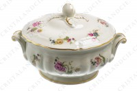 Soup tureen in china of Limoges by Bernardaud shape Régence decorated with polychromes flowers photo-2