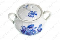 Sugar bowl in Limoges china by Bernardaud shape Palme decorated with blue bouquets of flowers photo-2