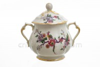 Sugar bowl in china of Limoges by Bernardaud pattern Bengali decorated with polychromes flowers and birds of paradise photo-2