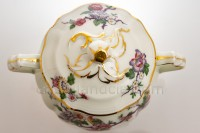 Sugar bowl in china of Limoges by Bernardaud pattern Bengali decorated with polychromes flowers and birds of paradise photo-3
