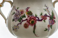 Sugar bowl in china of Limoges by Bernardaud pattern Bengali decorated with polychromes flowers and birds of paradise photo-7