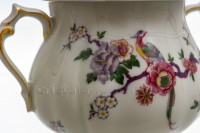 Sugar bowl in china of Limoges by Bernardaud pattern Bengali decorated with polychromes flowers and birds of paradise photo-9