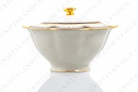 Sugar bowl in china of Limoges by Theodore Haviland decorated with cobalt blue and gold stripes and with a gold frieze of ribbons and leaves photo-2