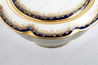 Sugar bowl in china of Limoges by Theodore Haviland decorated with cobalt blue and gold stripes and with a gold frieze of ribbons and leaves photo-4