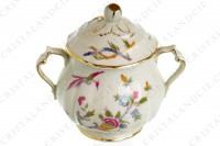 Sugar bowl in china of Limoges by Bernardaud pattern Chantilly with a Japanese polychrome pattern of flowers and birds of paradise photo-2