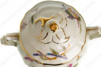Sugar bowl in china of Limoges by Bernardaud pattern Chantilly with a Japanese polychrome pattern of flowers and birds of paradise photo-3