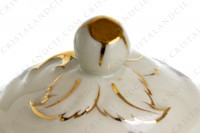 Sugar bowl in china of Limoges by Bernardaud pattern Chantilly with a Japanese polychrome pattern of flowers and birds of paradise photo-4